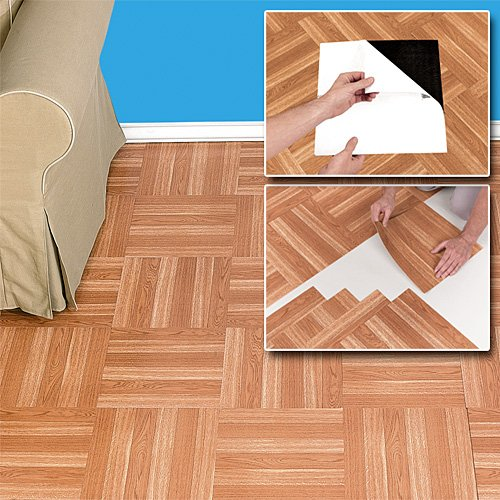 Installing vinyl floor tiles peel and stick