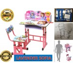 Study Table and Chair Kid Set with Cartoon Theme [ LAVENDER SOFIA ]