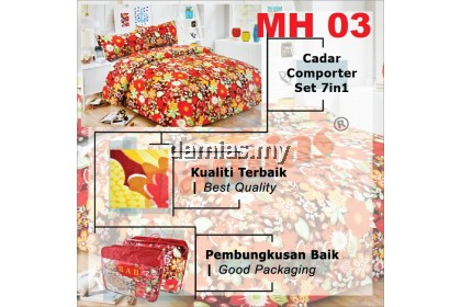 CADAR SET 7 IN 1 / WITH COMFORTER + BED SHEET MH [ SUPER QUEEN ] siri 5