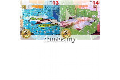 Cadar Kartun set 7in1 bersama langsir / bedsheet cartoon with curtain - Shocking Sale