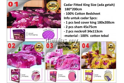 Cadar Fitted King Size 5 in 1 (ada getah) 180*200cm - 100% Cotton Bedsheet