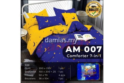 Cadar Set 7 IN 1 AM / with COMFORTER (SELIMUT) + Bed Sheet [ SUPER QUEEN ]
