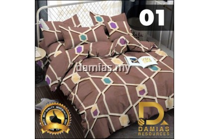 CADAR SET 7 IN 1 / WITH COMFORTER + BED SHEET COTTON QUEEN DAMIAS