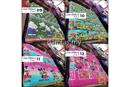 Bed Sheet Cadar QUEEN Patchwork Set 3 IN 1 Corak bunga/kartun