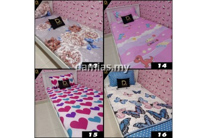 CADAR UMMI COLLECTION  SINGLE GETAH  FITTED 2 IN 1 BEDSHEET