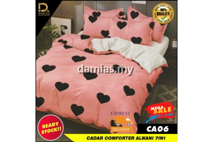 Cadar Fitted Set 7 in 1 With Comforter Alwani Collection Cadar Getah FREE Bag Simpan Cadar Queen Size