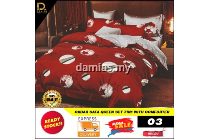 Cadar Safa Collection Bedroom Set 7 IN 1 Comforter Queen Exclusive Bedding Set Ready Stock From Malaysia