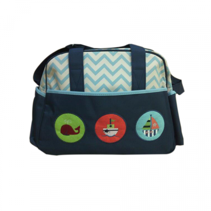 Cartoon World Character Mommy Diaper Bag Design F Whale Ship Dark Blue