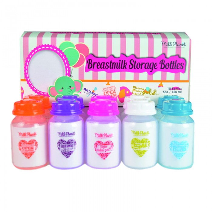 Milk Planet Breast Milk Storage Bottle 10pcs 5oz Colorful