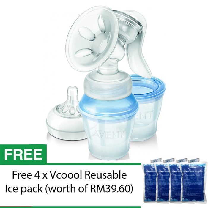 Philips Avent Comfort Manual Breast Pump with Milk Storage Cups