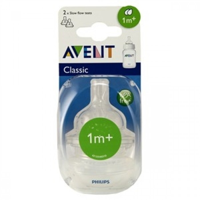 Philips AVENT Classic+ Slow Flow Teats - 2 Holes (Twin Pack)