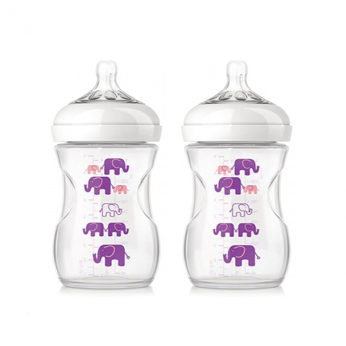 Philips Avent Natural Bottle Elephant Design (Pink Purple) x 1 (Buy 2 SAVE More)