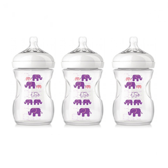 Philips Avent Natural Bottle Elephant Design (Pink Purple) x 1 (Buy 3 SAVE More)