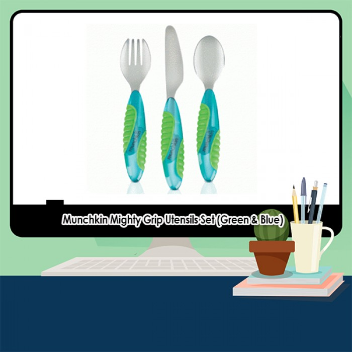 Munchkin Mighty Grip Utensils Set (Green & Blue)