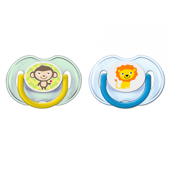 Philips AVENT Fashion Trending Soothers 0-6m Twin Pack - Monkey & Lion