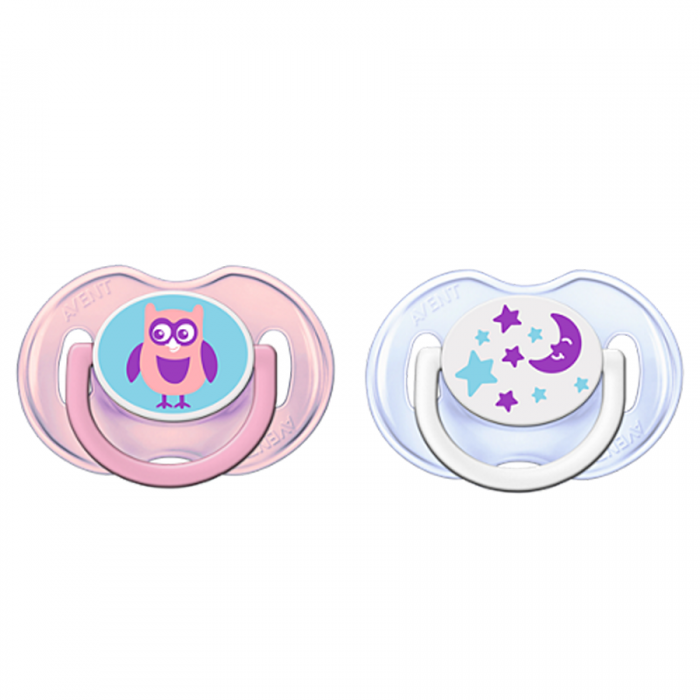 Philips AVENT Fashion Trending Soothers 0-6m Twin Pack - Owl & Star
