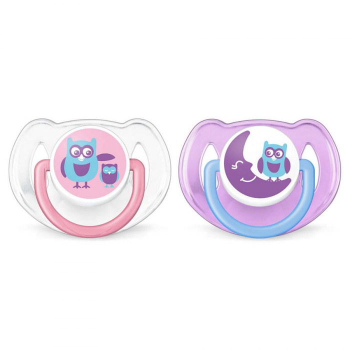 Philips AVENT Fashion Trending Soothers 6-18m Twin Pack - Owl & Moon