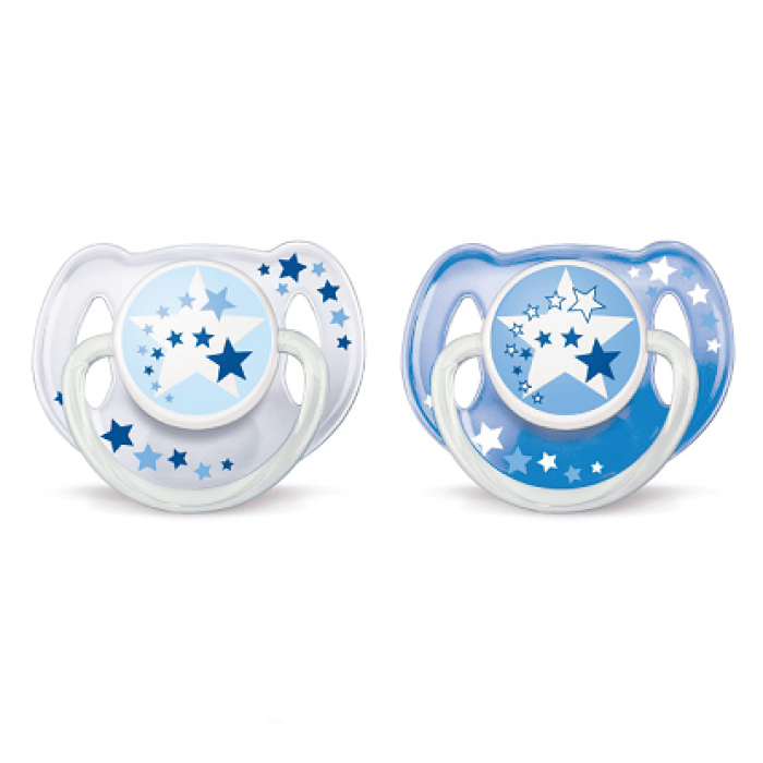 Philips AVENT Night Time Soothers 6-18m Twin Pack - White Blue Star