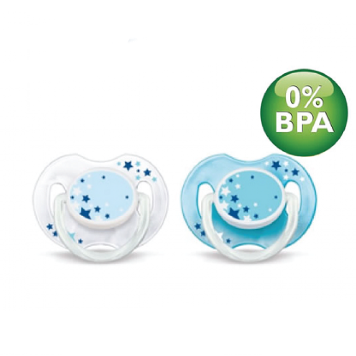Philips AVENT NightTime Soothers 0-6m Twin Pack - White Blue Stars