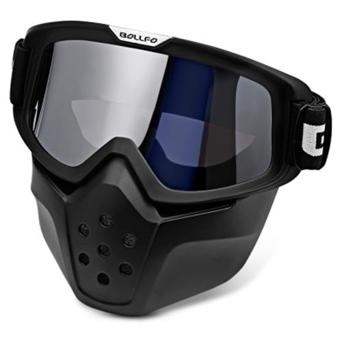 BOLLFO BF656 MOTORCYCLE MASK GOGGLES FOR MOTOCROSS RIDING (SILVER)