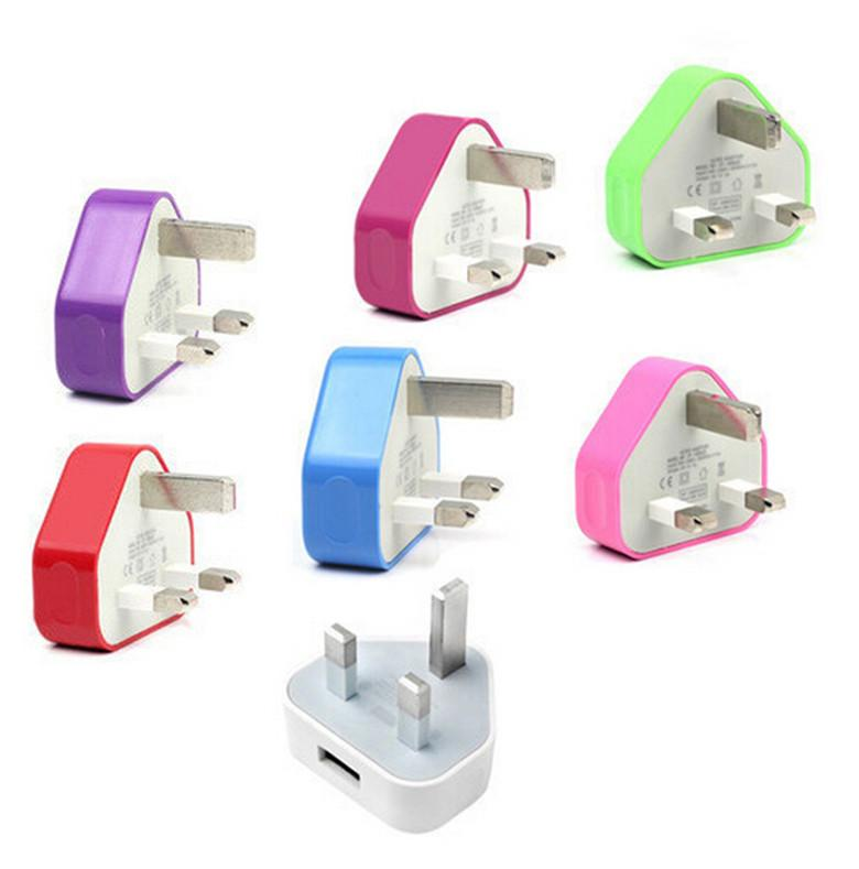 UK Colorful Wall Charger Adapter UK Plug USB home Travel adapter