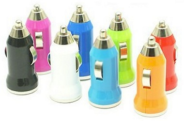Colorful Bullet Mini USB Car Charger Universal Adapter