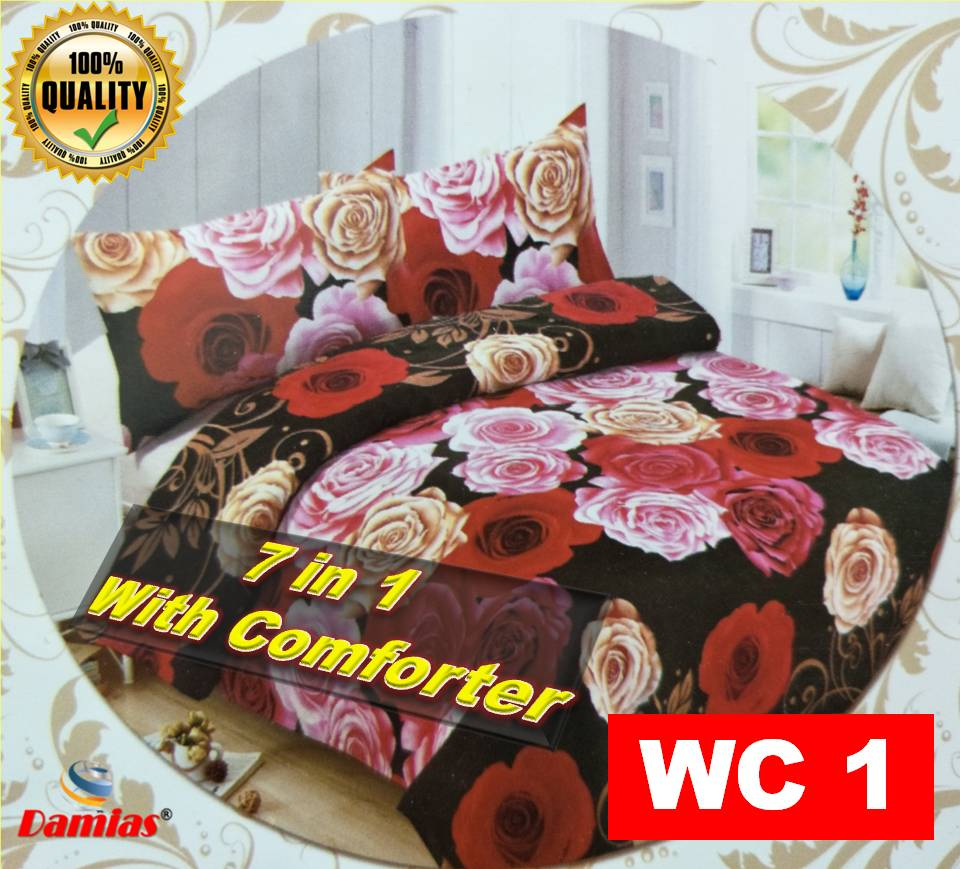 CADAR SET 7 IN 1 / WITH COMFORTER + BED SHEET HU [ SUPER QUEEN ] siri 4