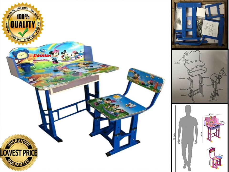 STUDY TABLE AND CHAIR KIDS SET MEJA BELAJAR [ MICKEY MOUSE BLUE]