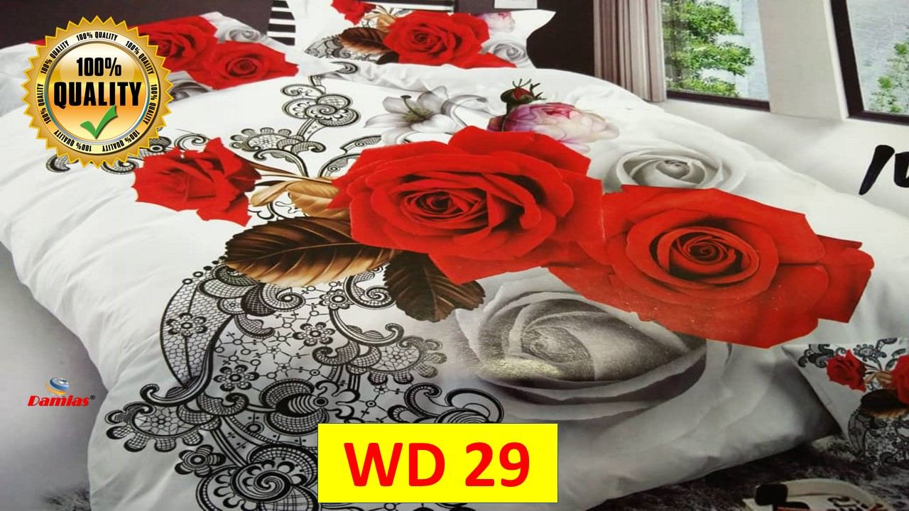 Cadar Set 7 IN 1 WD2 FLOWER / with COMFORTER + Bed Sheet [ SUPER QUEEN ]