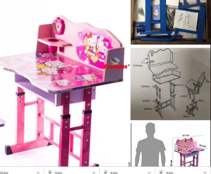 Study Table and Chair Kid Set with Cartoon Theme [ PINK HELLO KITTY ]