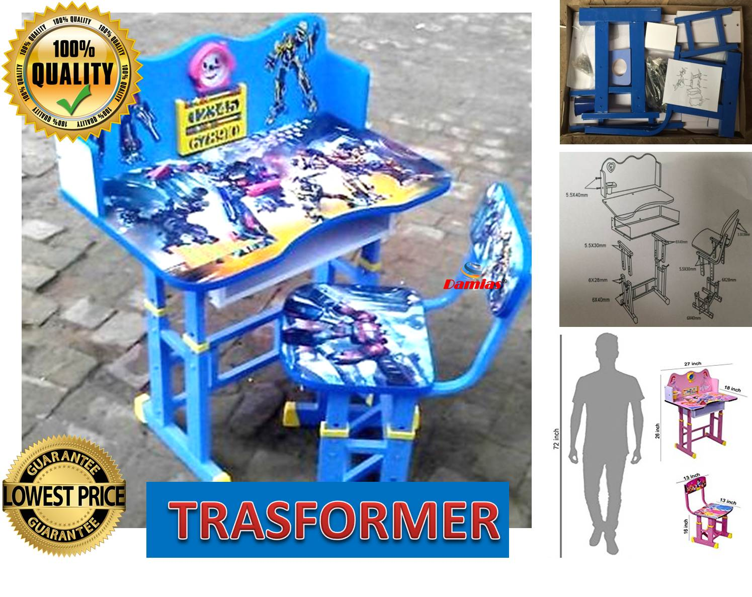 Study Table and Chair Kid Set with Cartoon Theme [ BLUE TRASFORMER ]