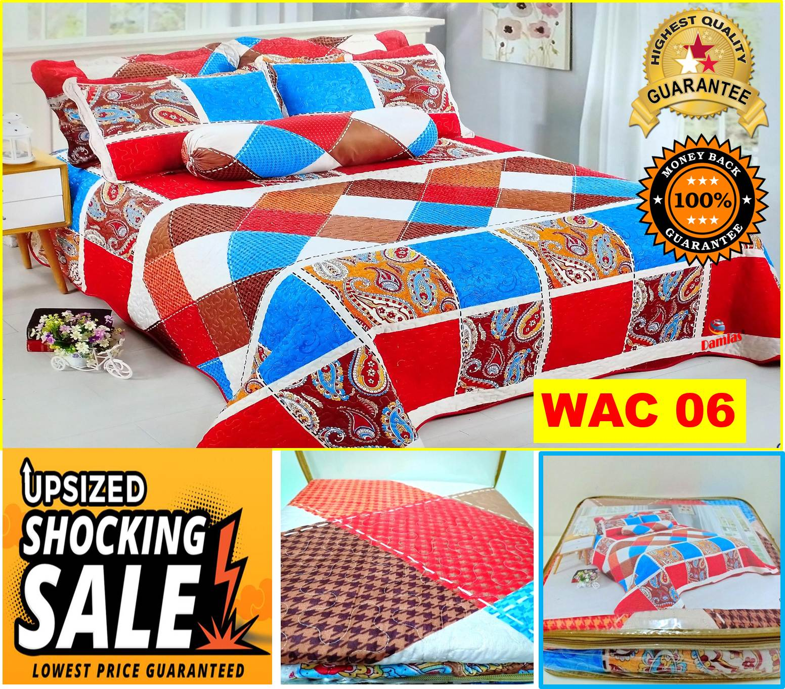 Cadar Patchwork Set 3 IN 1  Bed Sheet [ QUEEN ] SIRI 2 WALI