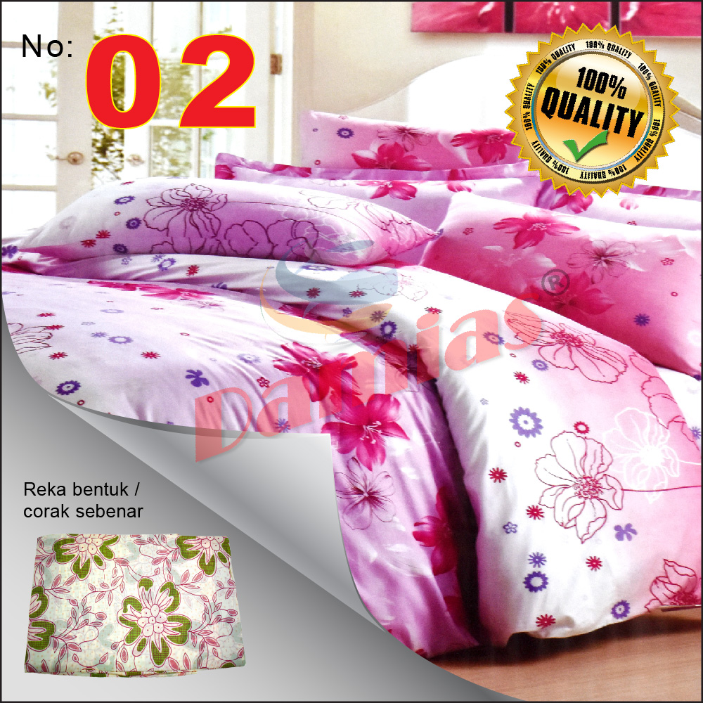 Cadar Queen Murah Lelong 1set (4pcs) 2 cadar 200x220cm dan 2 sarung bantal