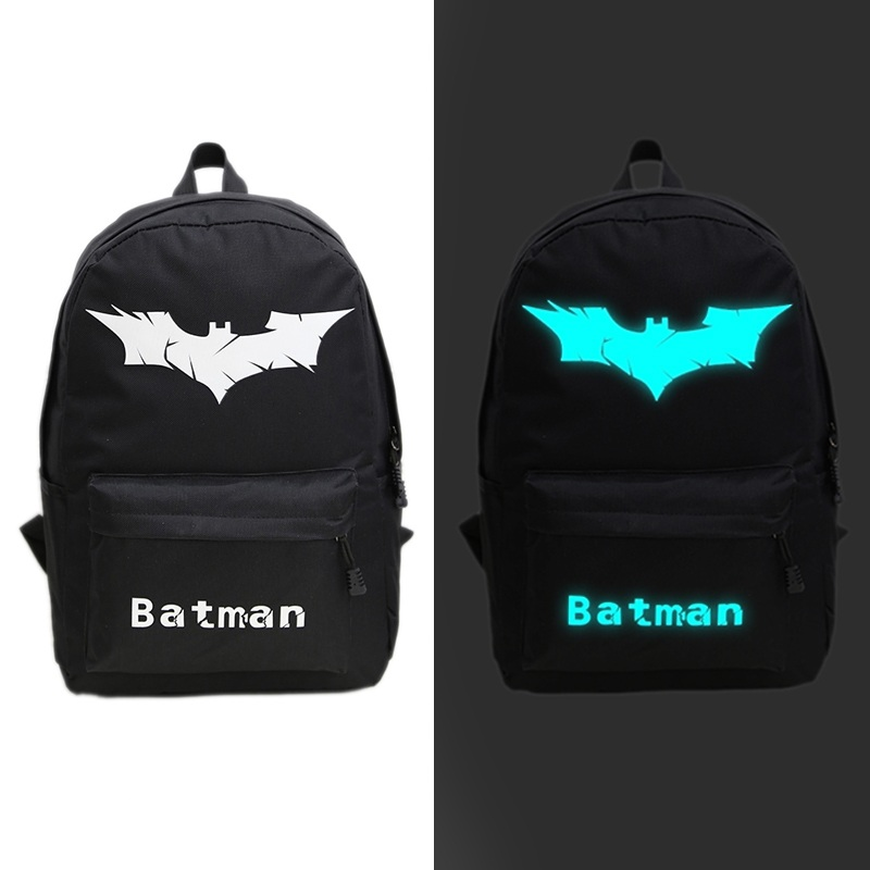 Backpack Luminous Safety Reflective School Sports Bags (Batman Logo)