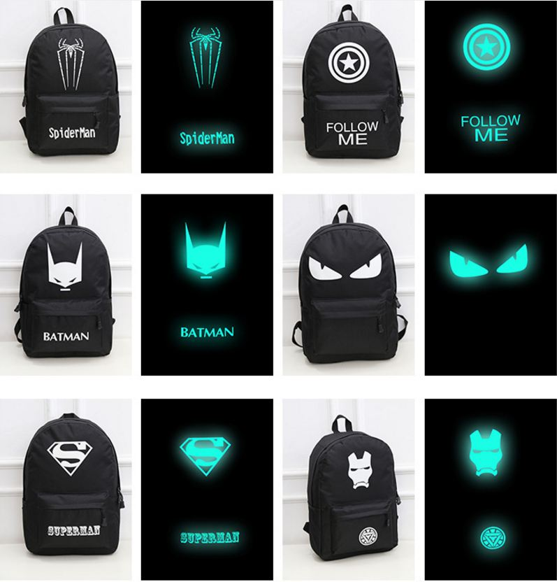 Backpack Luminous Safety Reflective School Sports Bags (Spiderman Word)