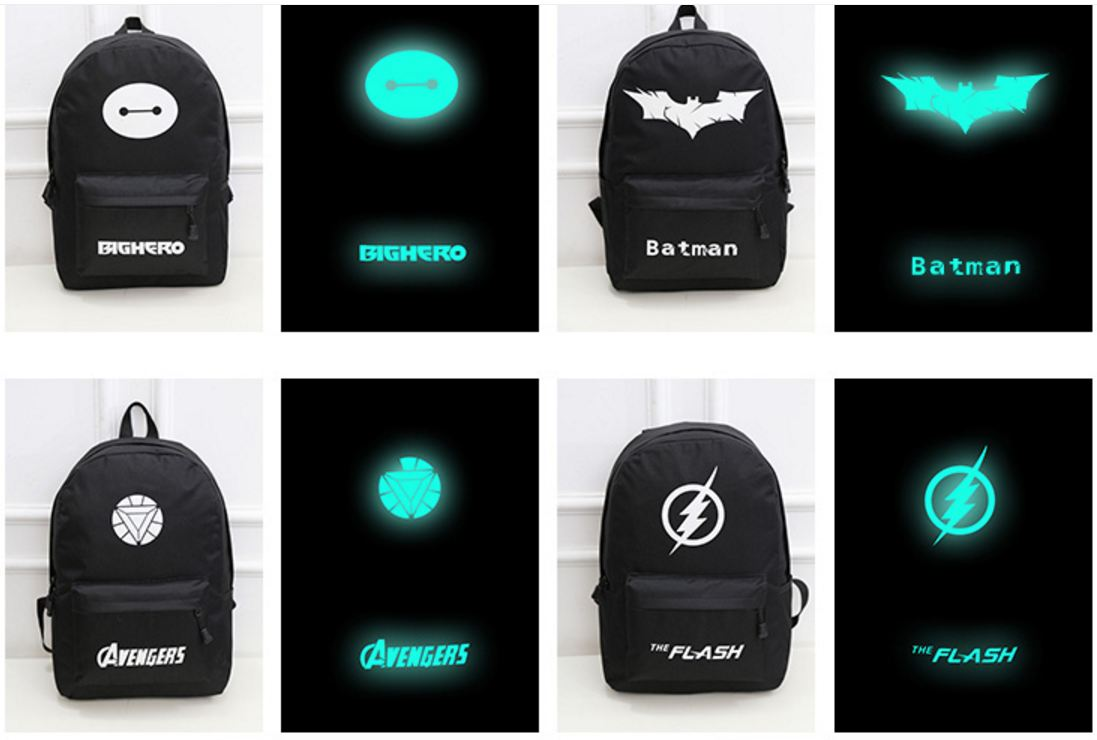 Backpack Luminous Safety Reflective School Sports Bags (Superman)