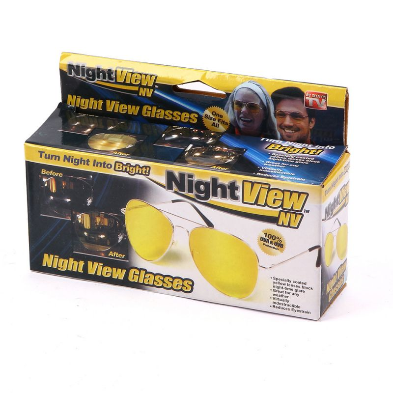 Night Nv View Glasses Clear Bright 100% UVA Protect Car Driver Glare Reduction