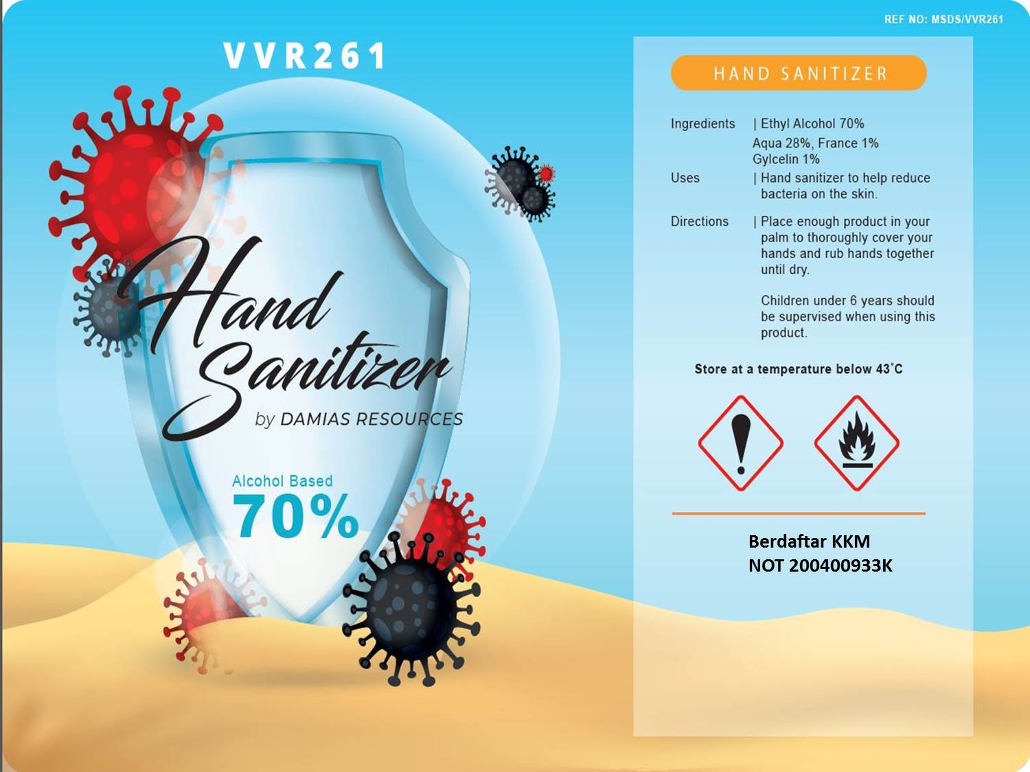 HAND SANITIZER VVR261 DAMIAS CLEAN WASH GEL 150ml (REG KKM)