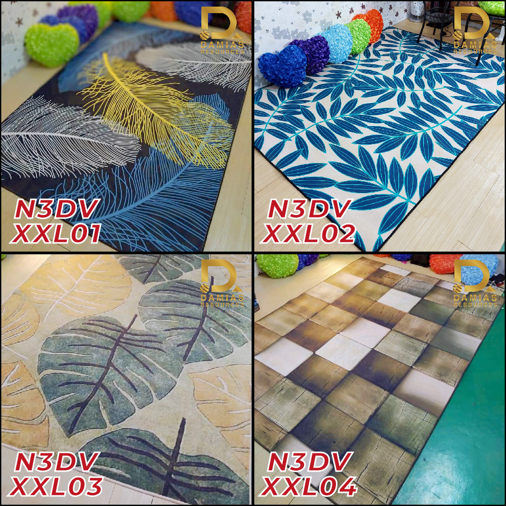 Ready Stock Karpet Velvet 3DXXL Waterproof / Anti Slip 210 CM X 160 CM .