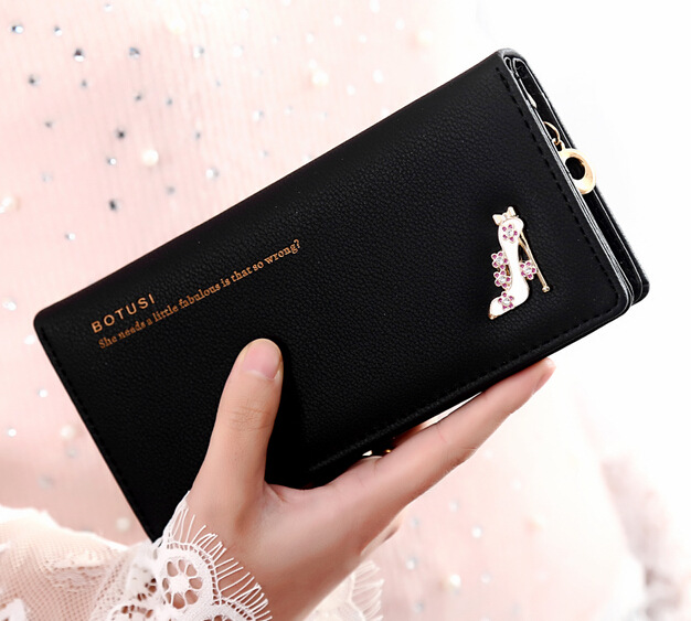 Women Botusi Wallet Purse Heels Pu Leather PBW01 Black