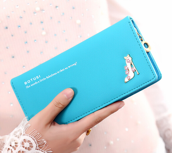 Women Botusi Wallet Purse Heels Pu Leather PBW03 Blue