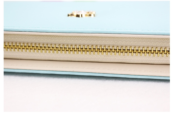 WOMEN PEARL CROWN LONG WALLET LADY PURSE FEMALE CLUTCH WALLETS PPC03 Blue Cyan