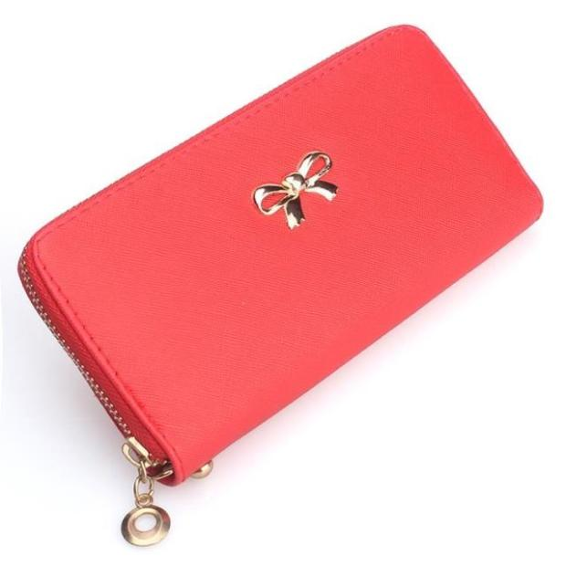 Lady Bow-Tie Long Wallet Card Holder Case Purse Ribbon PWF01 RED