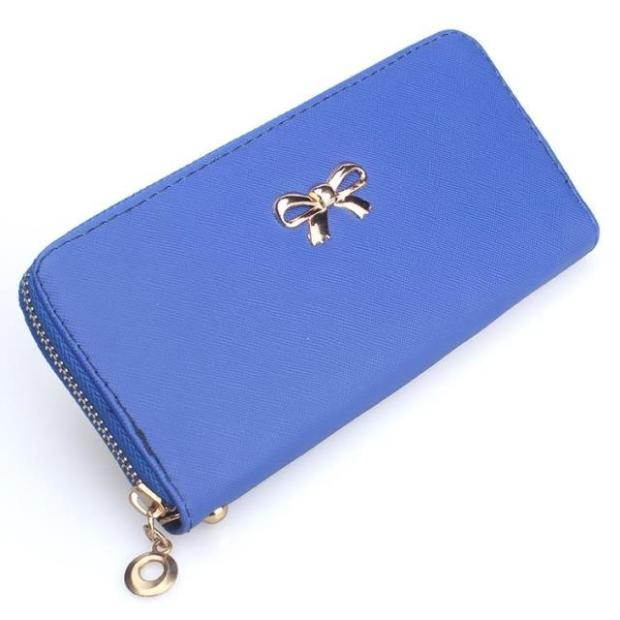 Lady Bow-Tie Long Wallet Card Holder Case Purse Ribbon PWF03 ROYAL BLUE