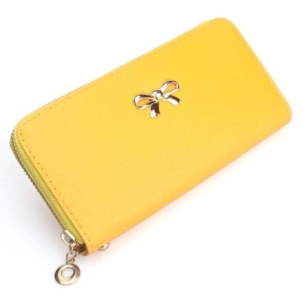 Lady Bow-Tie Long Wallet Card Holder Case Purse Ribbon PWF07 YELLOW