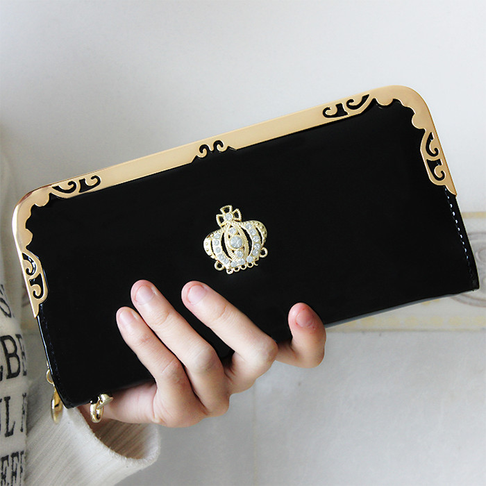 Women Diamond Crown Long Wallet Lady Purse Female Clutch Wallets PCD02 BLACK