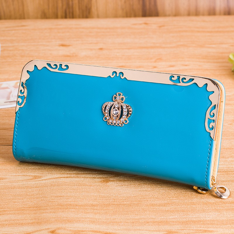 Women Diamond Crown Long  Wallet Lady Purse Female Clutch Wallets PCD05 BLUE
