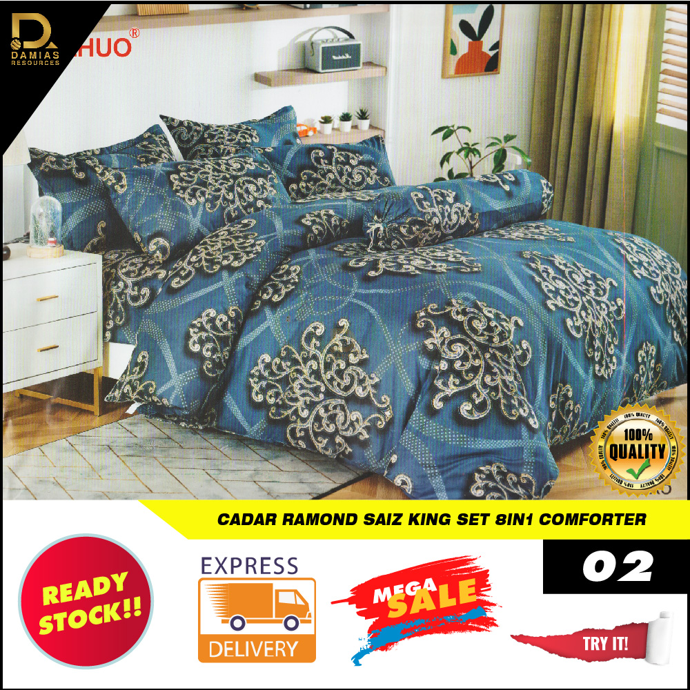 Cadar King Set 8 in 1 RAYMOND With comforter Exclusive Design Vintage Wedding Ready Stock