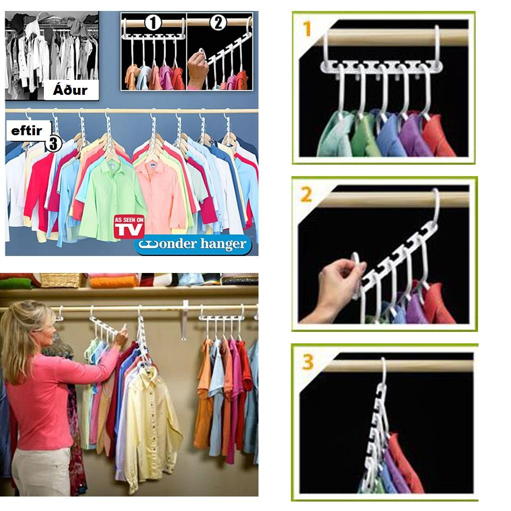 Magic Wonder Hanger Closet Organizer TRIPLES CLOSET SAVE SPACE  (8pcs)