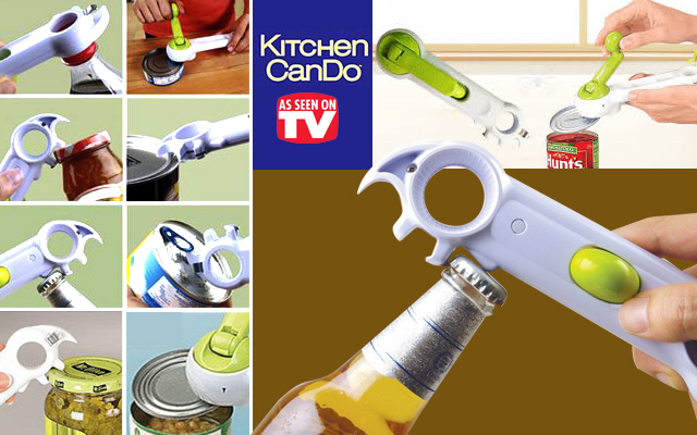 Multipurpose Kitchen CanDo Can Bottle Jar Tin Opener  8-in-1 NEW